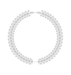 line art style wreath leafs in cirlce or round vector image