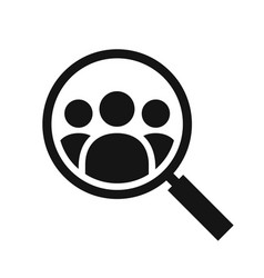 Magnifying glass looking for people icon vector
