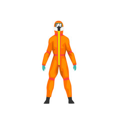 Man in orange protective suit and gas mask vector