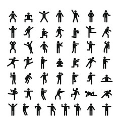 Man people stick icon set simple style vector