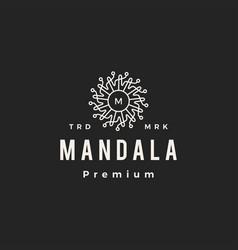 mandala medusa m letter mark hipster vintage logo vector image