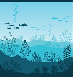 Marine underwater life silhouette coral reef vector