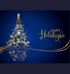modern gold on blue christmas greeting card vector image