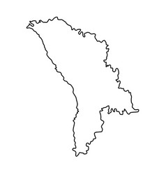 Moldova map of black contour curves on white vector