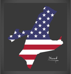 newark new jersey map with american national flag vector image