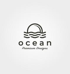 ocean wave sunset logo icon symbol minimalist vector image