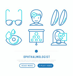 ophthalmologist thin line icons set vector image