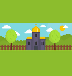 Orthodox church banner flat style vector