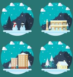 Pack of flat design winter scenes vector