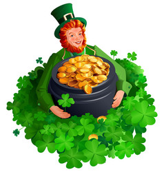 Patrick man among clover leaves holding big pot of vector