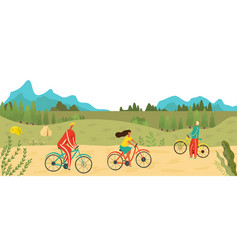 people riding bicycles in park outdoors sport vector image