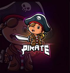 Pirate mascot esport logo design vector