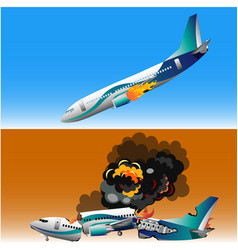 Plane crash with fire vector