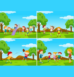 Playground scenes with kids playing sports vector
