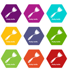 Putty knife icons set 9 vector