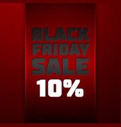 Red ribbon with text black friday sale ten percent vector