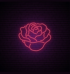 red rose neon sign light flower on brick wall vector image
