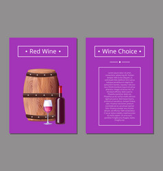 red wine choice poster bottle of alcohol drink vector image