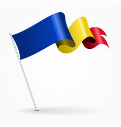 romanian pin wavy flag vector image