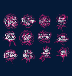 Roses with lettering icons for bouquet studio vector