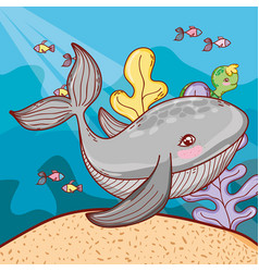 sea animals with exotic seaweed plants vector image