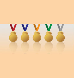 set of blank gold medal with multicolour ribbons vector image