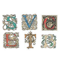 set of decorative hand drawn initial letters vector image