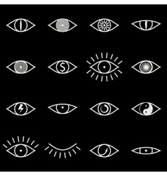 Set various eye icons on black background vector