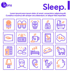 Sleep and insomnia color linear icons set vector