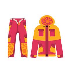 Snowboard sport clothes and tools elements vector