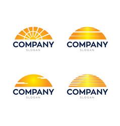 Sun down logos vector