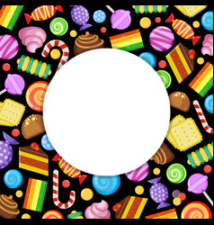 sweets circle frame candies lollipop jelly vector image