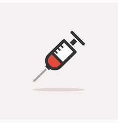 syringe icon with shadow on a beige background vector image
