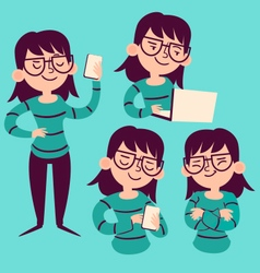Technology Girl Set vector image