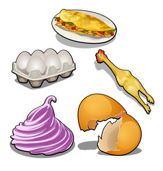 the set of food products from chicken eggs and vector image