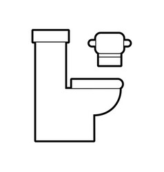 toilet bowl with paper hygienic equipment bath vector image