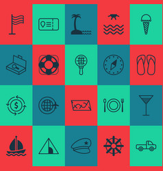 tourism icons set with search luggage ice cream vector image