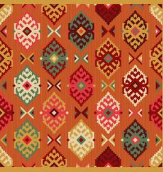 tribal carpet ethnic rhombus seamless pattern vector image