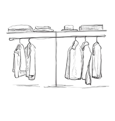 Wardrobe sketch Hallway interior with clothes vector image