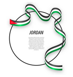 Waving ribbon flag jordan on circle frame vector