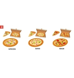 Whole pizza and slices of pizza in open white box vector