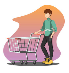 Young man pushing a shopping empty cart vector
