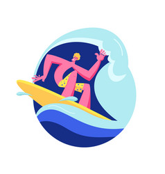 young man surfer in swim wear riding big sea wave vector image