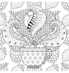 Zentangle stylized cup of tea with steam on berrie vector