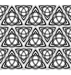 Black and white celtic triskels seamless vector image vector image