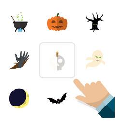 flat icon halloween set of magic zombie crescent vector image vector image