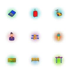 Flights icons set pop-art style vector image vector image