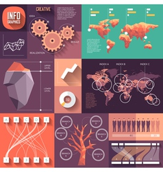 Infographics of flat design with long shadows vector image vector image
