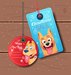 new year sale tags set with dog holiday discount vector image