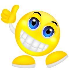 Smiley emoticon with thumb up vector image vector image